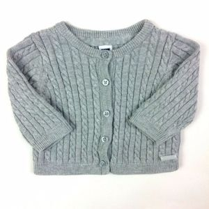 Janie & Jack Gray Cable Knit Cardigan Sweater